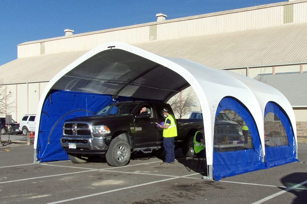 Coronavirus Drive-through Testing Shelter in Saskatchewan.